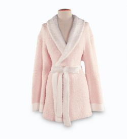 Barefoot Dreams 549 Cozy Chic Two-Toned Short Robe-Cream-Pink